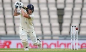 England's captain, Ben Stokes, drives into the covers