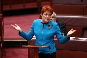Pauline Hanson delivers her maiden speech in the Senate on Wednesday.