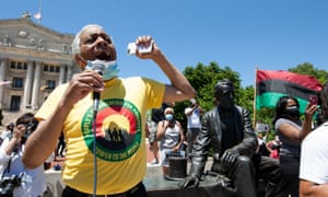 US senate candidate and march organiser Larry Hamm of the Peoples Organization for Progress appears during a Justice for George Floyd protest and rally in Newark, New Jersey