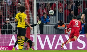 Robert Lewandowski scores for Bayern against his former club earlier this season