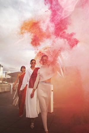 Melbourne, Australia: Models showcase new designs on a runway on the Seafarers Bridge during Melbourne Fashion Week