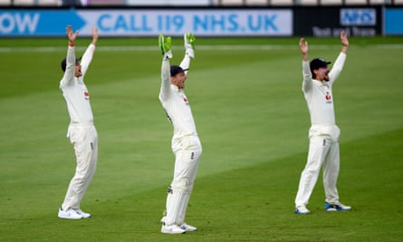 Joe Root, Jos Buttler and Rory Burns appeal for a wicked in unison during England's series against Pakistan this summer.