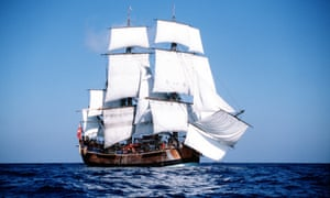 A full-scale replica of Captain Cook's ship the Endeavour. Marine archaeologists believe they have found the wreckage of the ship near Newport, Rhode Island, US.