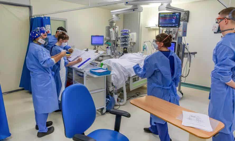 NHS staff inside a Covid intensive care unit in Coventry