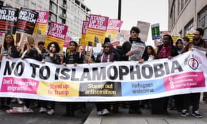 Hundreds of protesters marched in London to oppose racism, islamophobia and antisemitism