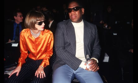 Anna Wintour and Andre Leon Tilley attend the 7th on Sixth Fashion show in 1996 in New York City