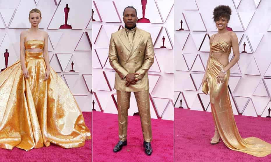 nominees Carey Mulligan, Leslie Odom Jr and Andra Day on the red carpet at Union Station, Los Angeles.