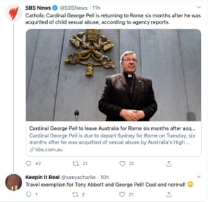 Screengrab of Keepin it Real tweet of story about Cardinal George Pell flying to Rome