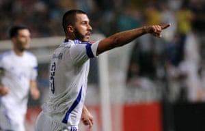 Bosnia and Herzegovina's Haris Medunjanin celebrates his goal.