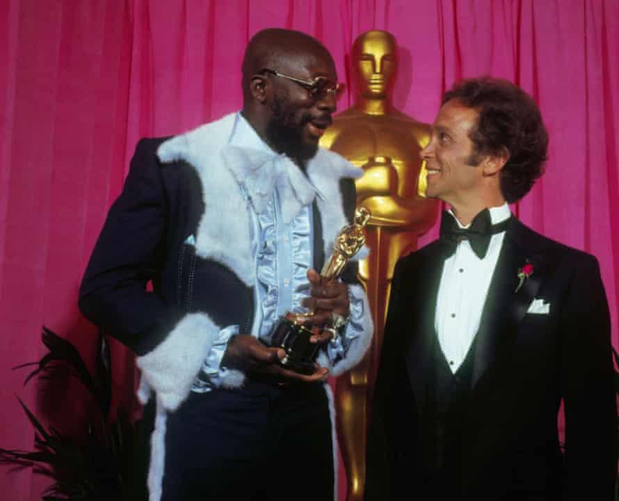 Isaac Hayes Holding His Oscar Award