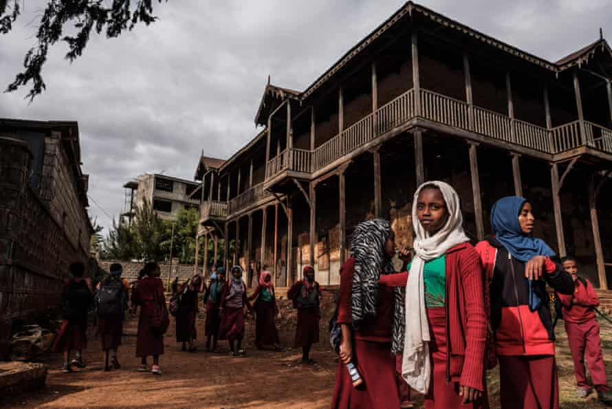 Students gather in the courtyard of the Sheik Ojele palace, which was built in 1890 and influenced by Indo-Islamic architectural design, and used as a residence combined with a school in Addis Ababa.