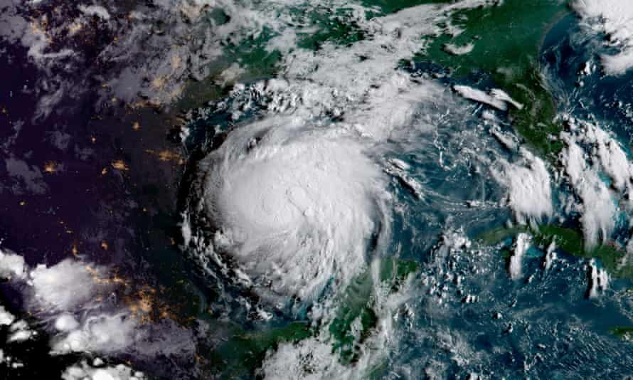 Hurricane Harvey approaches the coast of Texas from the Gulf of Mexico as it strengthens to a category 3 storm.