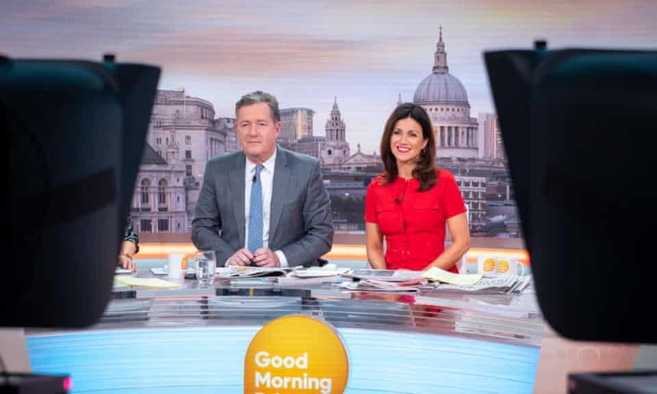 Piers Morgan and co-host Susanna Reid on the set of Good Morning Britain