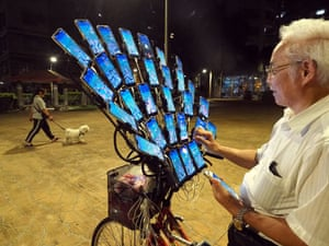 New Taipei City, TaiwanChen San-yuan, a 70-year-old Feng Shui master, uses 29 cellphones mounted on his bike and two handheld cellphones to catch Pokemon. Chen was hooked on Pokemon Go in 2016 when his grandson taught him how to play the game. Chen spends all his spare time catching Pokemon on streets or in parks, sometimes staying outside until 4 am