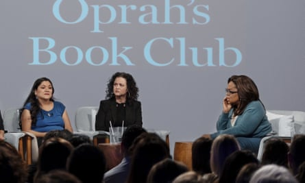 Oprah Winfrey during the recording with Jeanine Cummins (centre) and Reyna Grande.