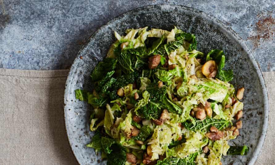 Rachel Roddy's savoy cabbage and chestnuts.