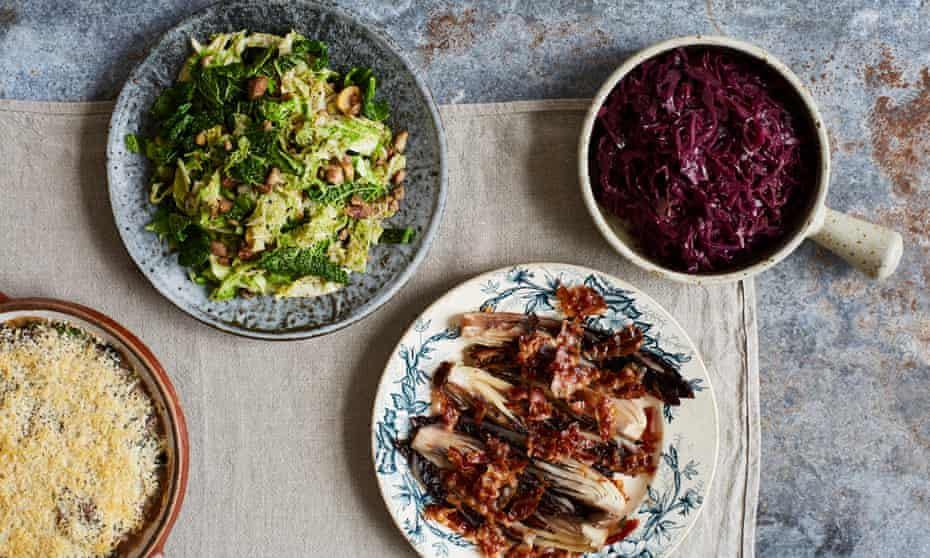 Four festive side dishes: Swiss chard gratin; radicchio with pancetta (or bacon); braised red cabbage and savoy cabbage and chestnuts.