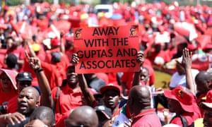 Anti-Gupta demonstrators
