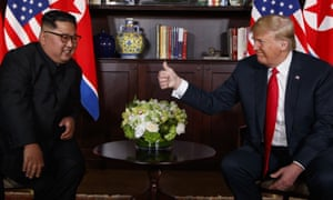 The US president, Donald Trump, meets with the North Korean leader, Kim Jong-un, in Singapore on 12 June 2018.