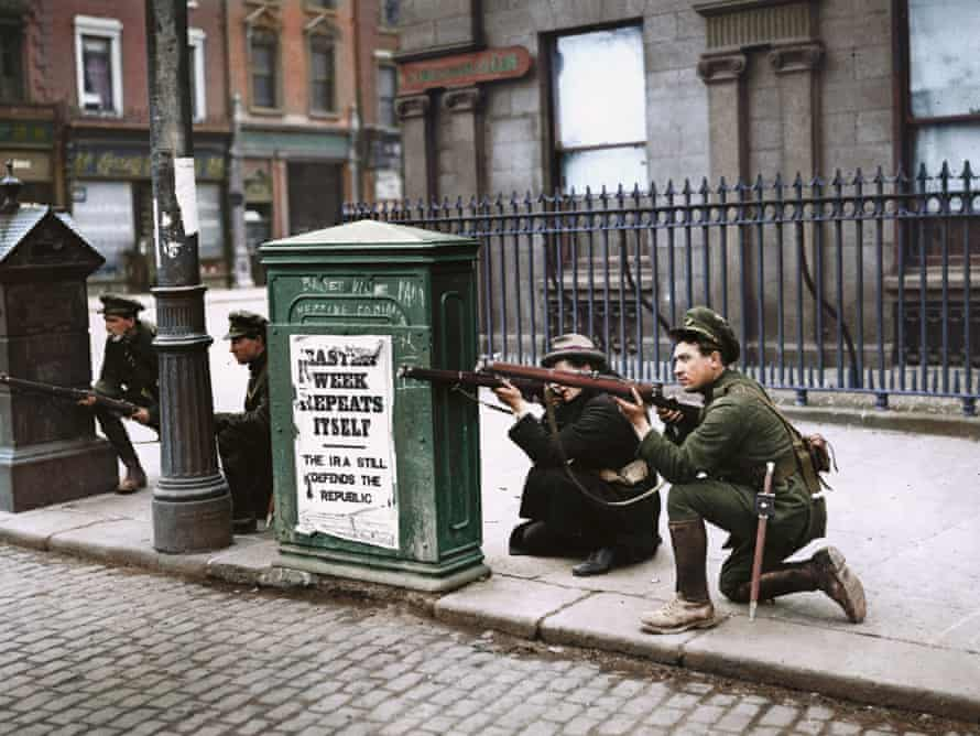 Free State soldiers fight Republican forces at O'Connell Bridge in Dublin during the Irish civil war, July 1922: black and white image coloured by artist Marina Amaral