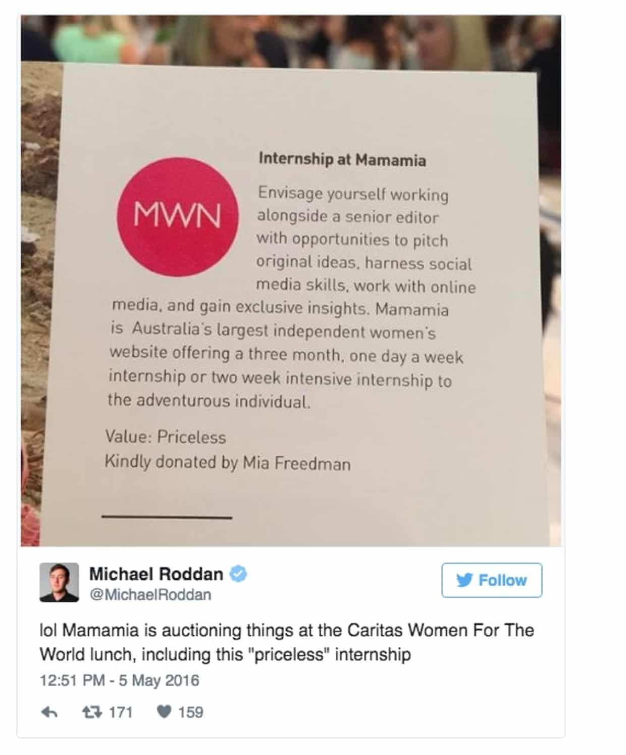 'Priceless' Mamamia internship sold at a charity auction for $10,000