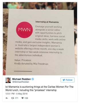 Tweet from Michael Roddan about the donation for auction of an internship with Mamamia in support of Caritas Australia.