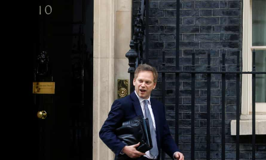 Grant Shapps leaves a meeting at 10 Downing Street on 12 March.