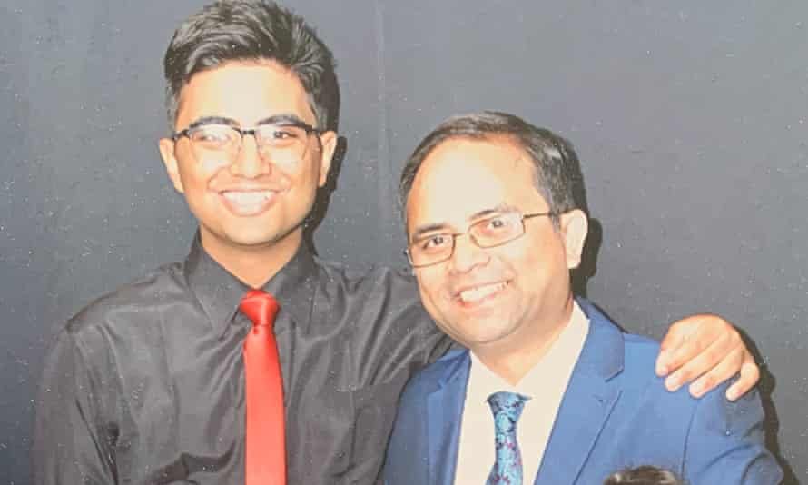 Intisar Chowdhury pictured with his father, Abdul Mabud Chowdhury.