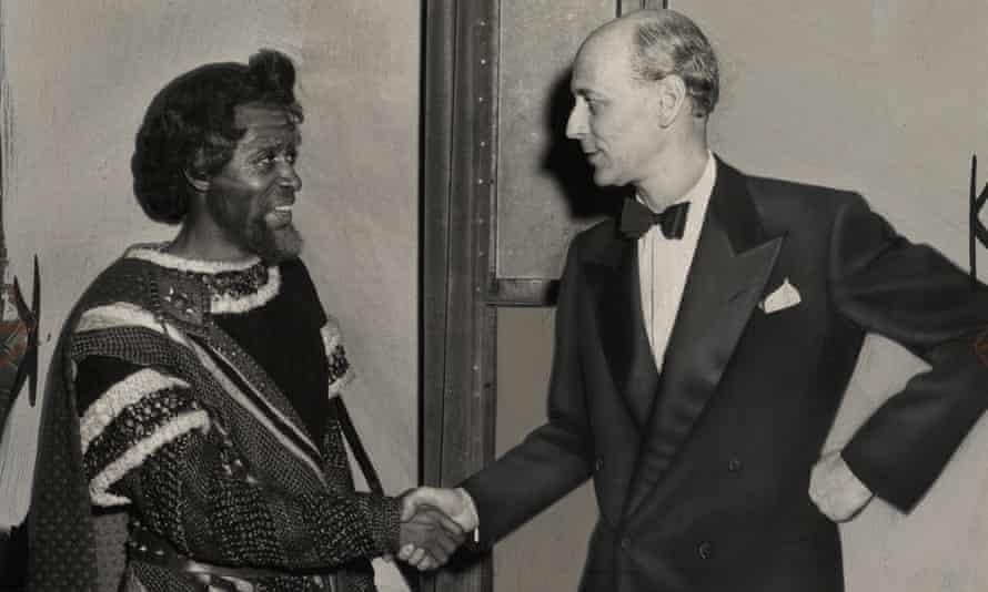 An image of hope … McFerrin, costumed as Amonasro, with the Met's Rudolf Bing.