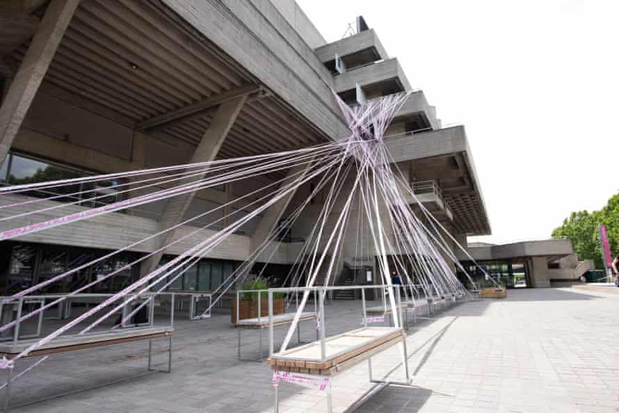 London's National Theatre was the first venue to be wrapped in the Missing Live Theatre barrier tape