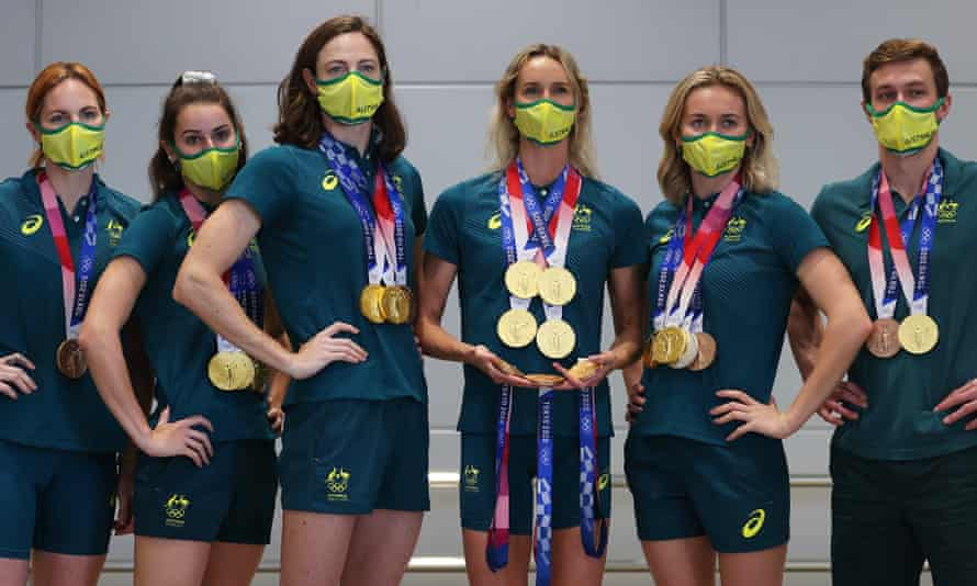 Nine gold, three silver and eight bronze medals won by the Australian swimming team surpassed the previous best score at the Melbourne Games in 1956.