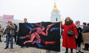 Ukrainian feminists celebrate International Women's Day in Kiev.