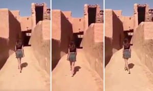 The woman, identified as Khulood, appeared in a series of clips of herself at the deserted Ushaqir heritage village.