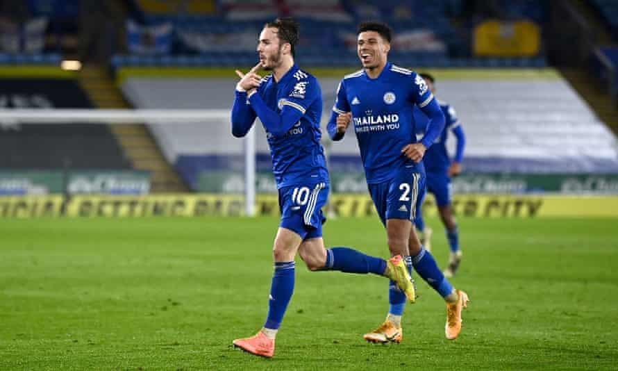 Leicester City's James Maddison (left) celebrates scoring his side's third goal against Brighton