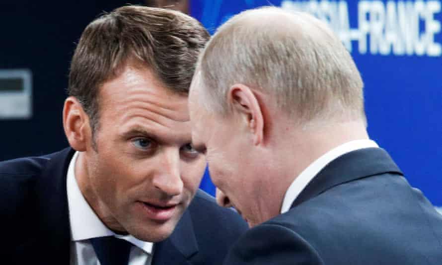 Emmanuel Macron and Vladimir Putin at the St Petersburg International Economic Forum in May 2018.
