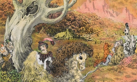 Detail from Mervyn Peake's dust jacket design for Household Tales by the Brothers Grimm.