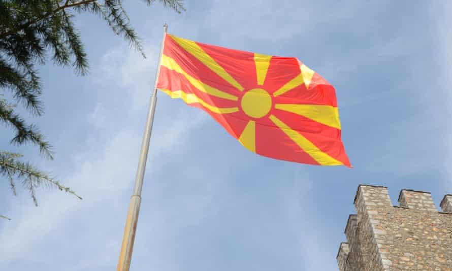 The Macedonian flag flies.