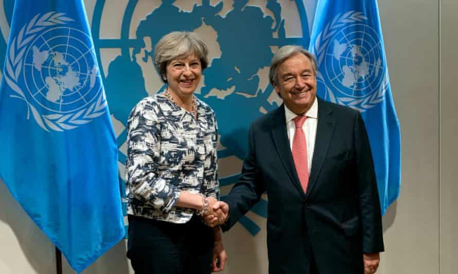 Theresa May and António Guterres