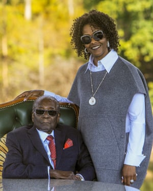 Grace Mugabe posed for pictures with her 94-year-old husband.