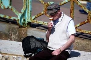 A man enjoys an ice-cream