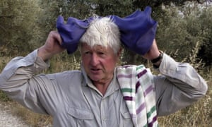 Stanley Johnson, father of Britain's Prime Minister Boris Johnson, speaks with local reporters outside his Villa Irene in Horto village, Mount Pelion (also known as Pilio), central Greece, Friday, July 3, 2020.