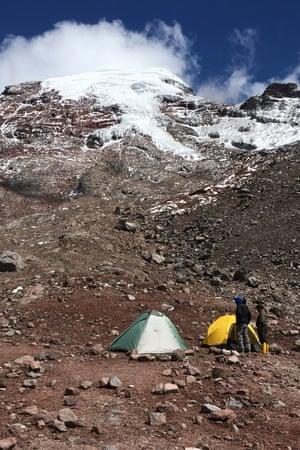 The camp at 16,500 feet below Stubel Glacier, Ecuador