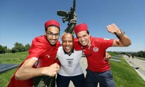 England fan Billy Grant with Tunisia fans at the Mamayev Kurgan, Volgograd.