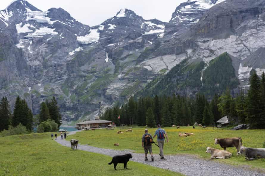 Experts approach Oeschinen See, which sees up to 4,000 tourists per day.