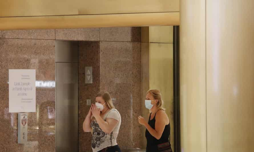 Shoppers wear masks at the Galleria Dallas mall in Texas on 4 May.