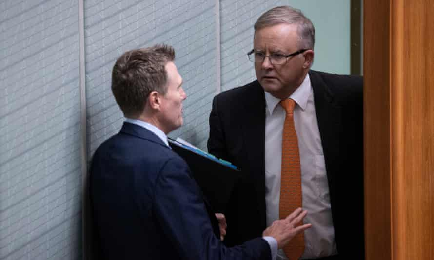 Attorney general Christian Porter talks to opposition leader Anthony Albanese during question time on Wednesday