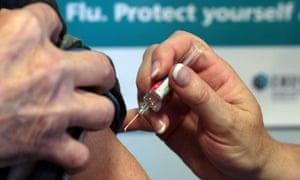 Patient receiving flu jab