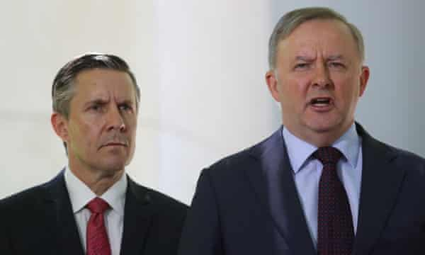 Labor's climate change spokesman, Mark Butler, pictured with leader Anthony Albanese, accused the government of misrepresenting climate data.