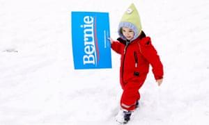 Katherine Bonavita, four, carries a sign ahead of Bernie Sanders' rally.