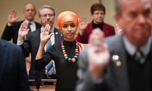 Ilhan Omar is sworn in at the Minnesota state capitol.